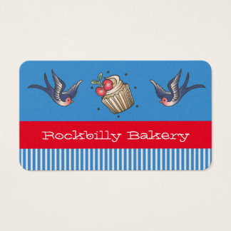 Nautical Blue stripe Tattoo rockabilly bakery Business Card