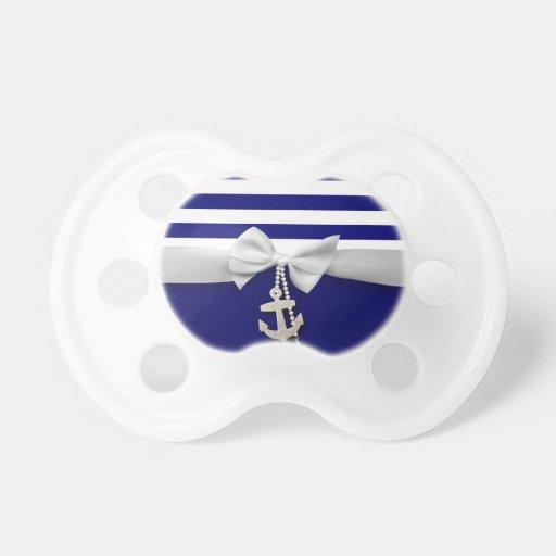 Nautical blue stripe white ribbon & charms graphic pacifier