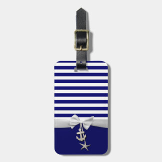 Nautical blue stripe white ribbon & charms graphic luggage tag