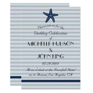 Nautical Blue Striped Beach Wedding Invitation