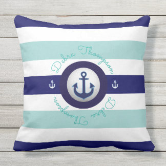 nautical blue striped & personalized outdoor cushion