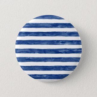 Nautical Blue Stripes Painting Art 6 Cm Round Badge