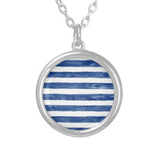 Nautical Blue Stripes Painting Art Silver Plated Necklace