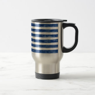 Nautical Blue Stripes Painting Art Travel Mug