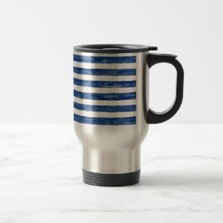 Nautical Blue Stripes Painting Art Travel Mug