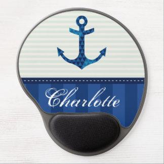 Nautical Blue Stripes Pattern Anchor Custom Name Gel Mouse Mat