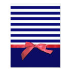 Nautical blue stripes & red ribbon bow graphic card