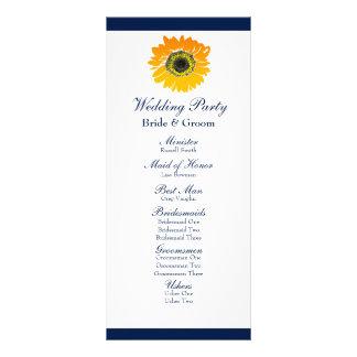 Nautical Blue Stripes Sunflower Wedding Program Rack Card Template