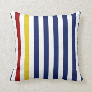 Nautical Blue Stripes Throw Pillow