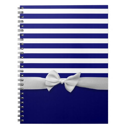 Nautical blue stripes & white ribbon bow graphic spiral notebook