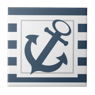 Nautical Blue Stripes with Anchor Small Square Tile