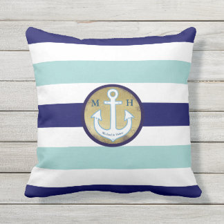 nautical blue stripes with names, personalized throw pillow