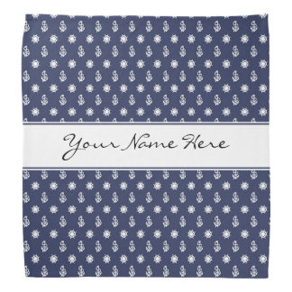 Nautical Blue & White Anchor and Ship's Wheel Bandana