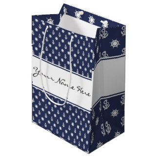 Nautical Blue & White Anchor and Ship's Wheel Medium Gift Bag