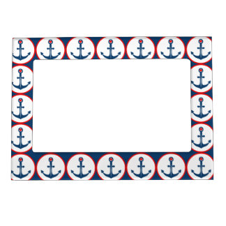 Nautical Blue White And Red Anchor With Red Heart Photo Frame Magnets