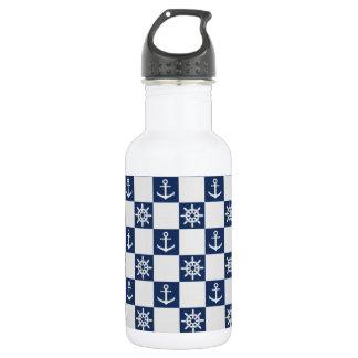 Nautical blue white checkered 532 ml water bottle