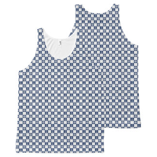 Nautical blue white checkered All-Over print tank top
