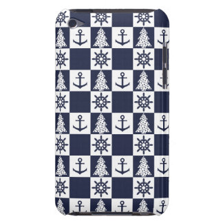 Nautical blue white checkered barely there iPod cases