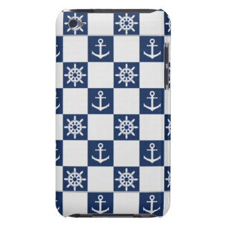 Nautical blue white checkered Case-Mate iPod touch case