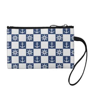 Nautical blue white checkered change purse