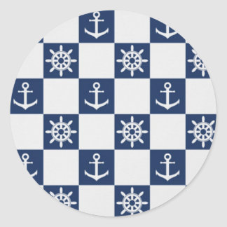 Nautical blue white checkered classic round sticker