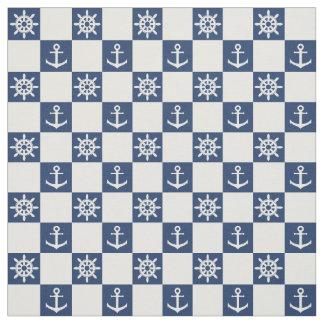 Nautical blue white checkered fabric