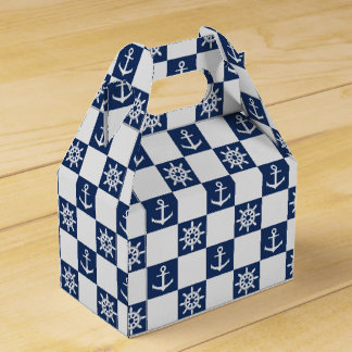 Nautical blue white checkered favour box