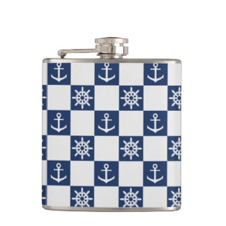 Nautical blue white checkered flasks