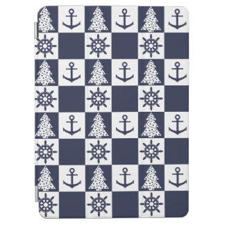 Nautical blue white checkered iPad air cover