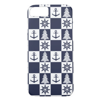 Nautical blue white checkered iPhone 8/7 case