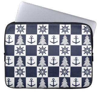 Nautical blue white checkered laptop sleeve