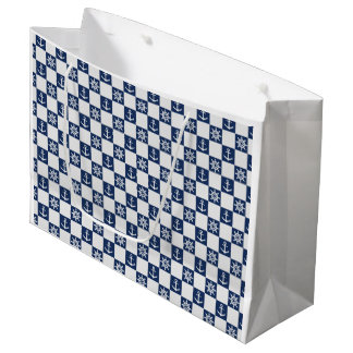 Nautical blue white checkered large gift bag