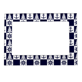 Nautical blue white checkered magnetic picture frame