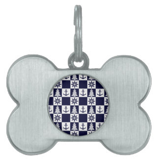 Nautical blue white checkered pet ID tag