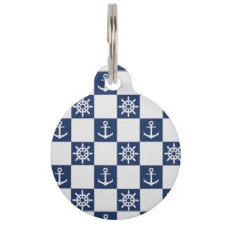 Nautical blue white checkered pet tag