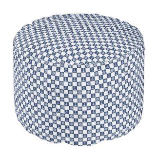 Nautical blue white checkered pouf