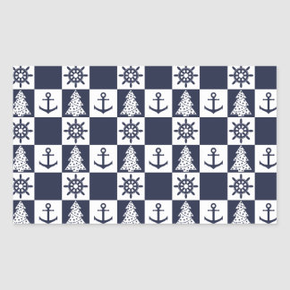 Nautical blue white checkered rectangular sticker