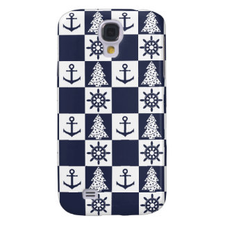 Nautical blue white checkered samsung galaxy s4 case