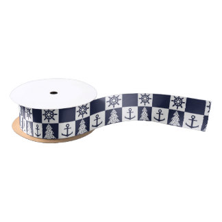 Nautical blue white checkered satin ribbon