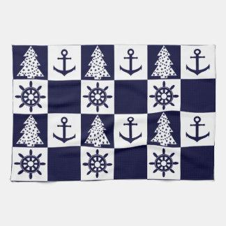 Nautical blue white checkered tea towel