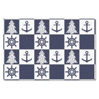 Nautical blue white checkered tissue paper