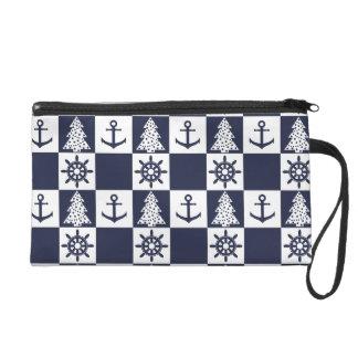 Nautical blue white checkered wristlet
