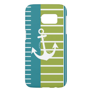 Nautical Blue White Green Stripe Design
