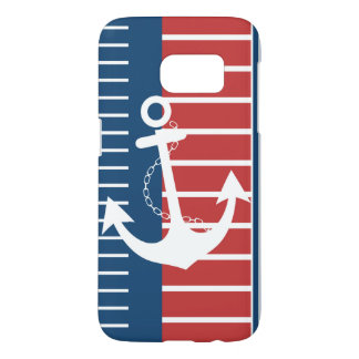Nautical Blue White Red Stripe Design