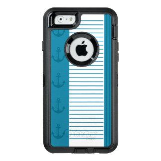 Nautical Blue White Stripe Anchor Design OtterBox Defender iPhone Case