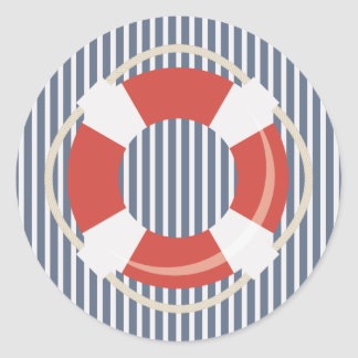 Nautical Blue White Stripe and Life Buoy Sticker