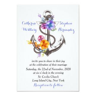 Nautical Boat Anchor Floral Blue Wedding Card
