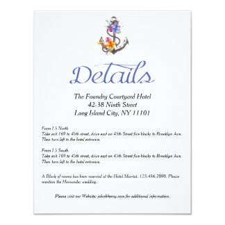 Nautical Boat Anchor Floral Details Direction Card