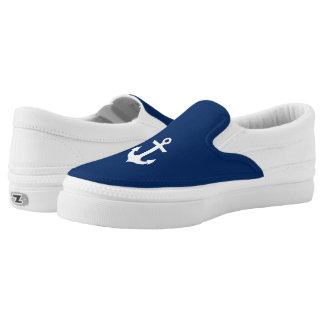 Nautical Boat Anchor Navy Blue Slip-On Shoes