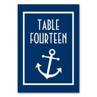Nautical Boat Anchor Numbers (Dark Blue / White) Card